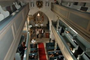 Blick von oben in die Eschenbacher Kirche